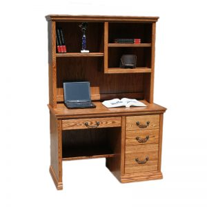 Oak Traditional Junior Laptop Desk and Hutch