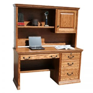 "Oak Traditional 57"" Desk with Hutch"